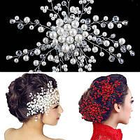 Гребень свадебный Аврора красный и белый, украшения для волос аксессуары