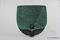 Кожаная женская сумка, сумка через плечо, мини сумочка, зеленая сумка