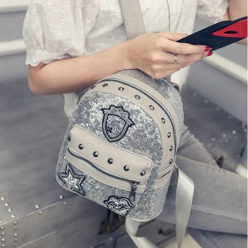 Маленький женский рюкзак паетки
