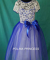 Детское нарядное синее кружевное платье на выпуск