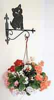 Настенная подставка для подвесного цветка Кошка К-7
