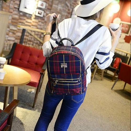 Маленький женский рюкзак в шотландскую клетку