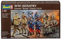 Набор фигурок WWI INFANTRY German/British/French (1914), 1:35, Revell (02451)
