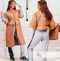 Пальто женское из плащевки и кашемира с отстегивающимся низом P5273
