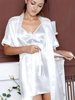 Шелковый атласный комплект, размеры 40 - 48. Комплект: ночная сорочка на бретелях и халатик - кимоно. Украина.