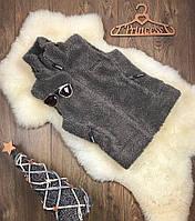 Теплая жилетка-безрукавка с воротником под горло из меховой фактуры под овчину  CG0101