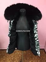 Парка с черным мехом финского песца, коттон цвета камуфляж, по спинке испанский кролик, длина 70 см, фото 1