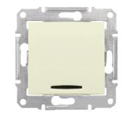 SHNEIDER ELECTRIC SEDNA Выключатель 2-х полюс. одноклавишный с красной индикацией 10А Слоновая кость