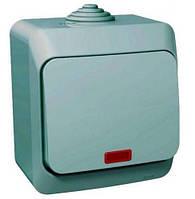 SHNEIDER ELECTRIC CEDAR PLUS IP 44 Выключатель одноклавишный с подсветкой Серый