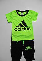 Детский Летний Костюм  Adidas Цвет Неон Салатовый  Рост 92-104 см