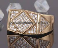 Богатое кольцо - печатка с фианитами с фианитами, покрытое золотом (125830)