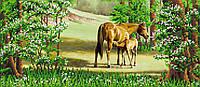 "Схема для вышивки бисером ""Лошади"", 17х39 см"