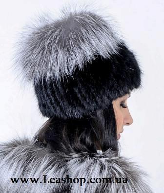 Женская шапка из чернобурки
