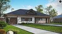 MS-003 AL . Проект  одноэтажного дома с встроенным гаражом