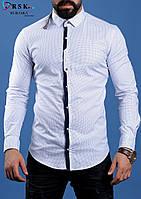 Стильная белая мужская рубашка, фото 1