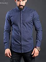 Стильная синяя мужская рубашка, фото 1