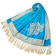 Палантин теплый Роза Шанель BG 122-01 голубой