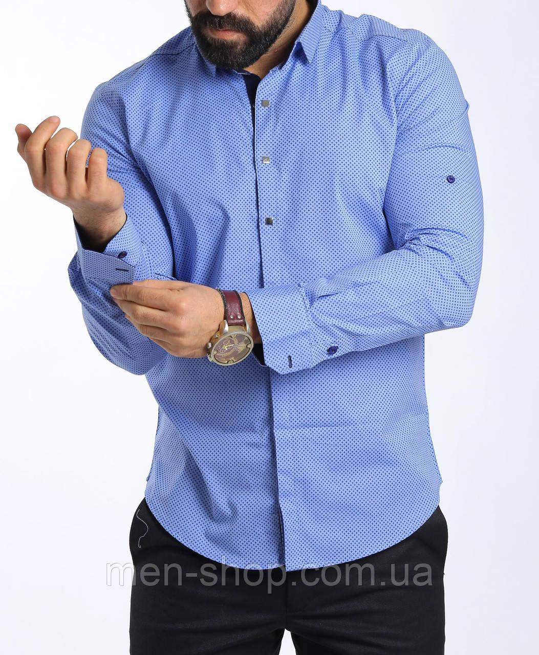 Стильная голубая мужская рубашка