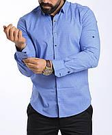 Стильная голубая мужская рубашка, фото 1