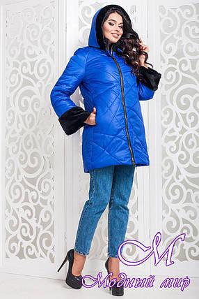 Зимняя женская куртка с мехом цвета электрик большого размера (р. 42-56) арт. 979 Тон 13, фото 2