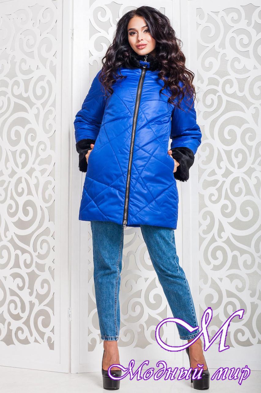 Зимняя женская куртка с мехом цвета электрик большого размера (р. 42-56) арт. 979 Тон 13