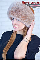 Меховая шапка женская из песца Москвичка в расцветках