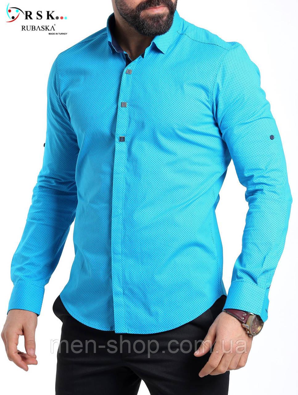 Молодежная голубая мужская рубашка