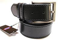 Ремень кожаный прошитый одной строчкой черный 40 мм