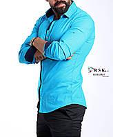 Модная голубая мужская рубашка, фото 1