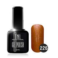 Гель-лак TNL № 226 оранжевый с блестками 10 мл.