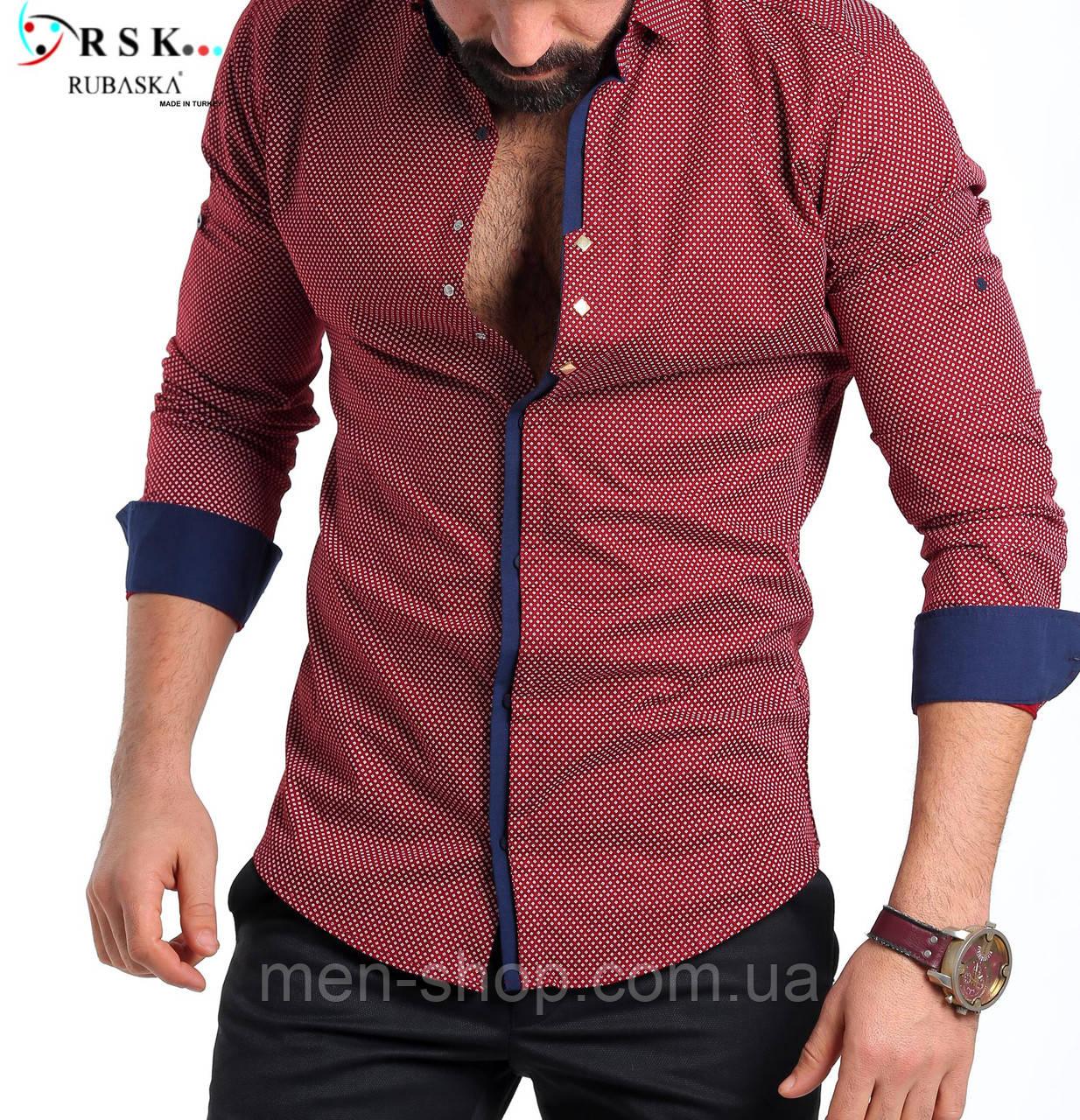 4e8e9417c13 Качественная бордовая мужская рубашка  продажа