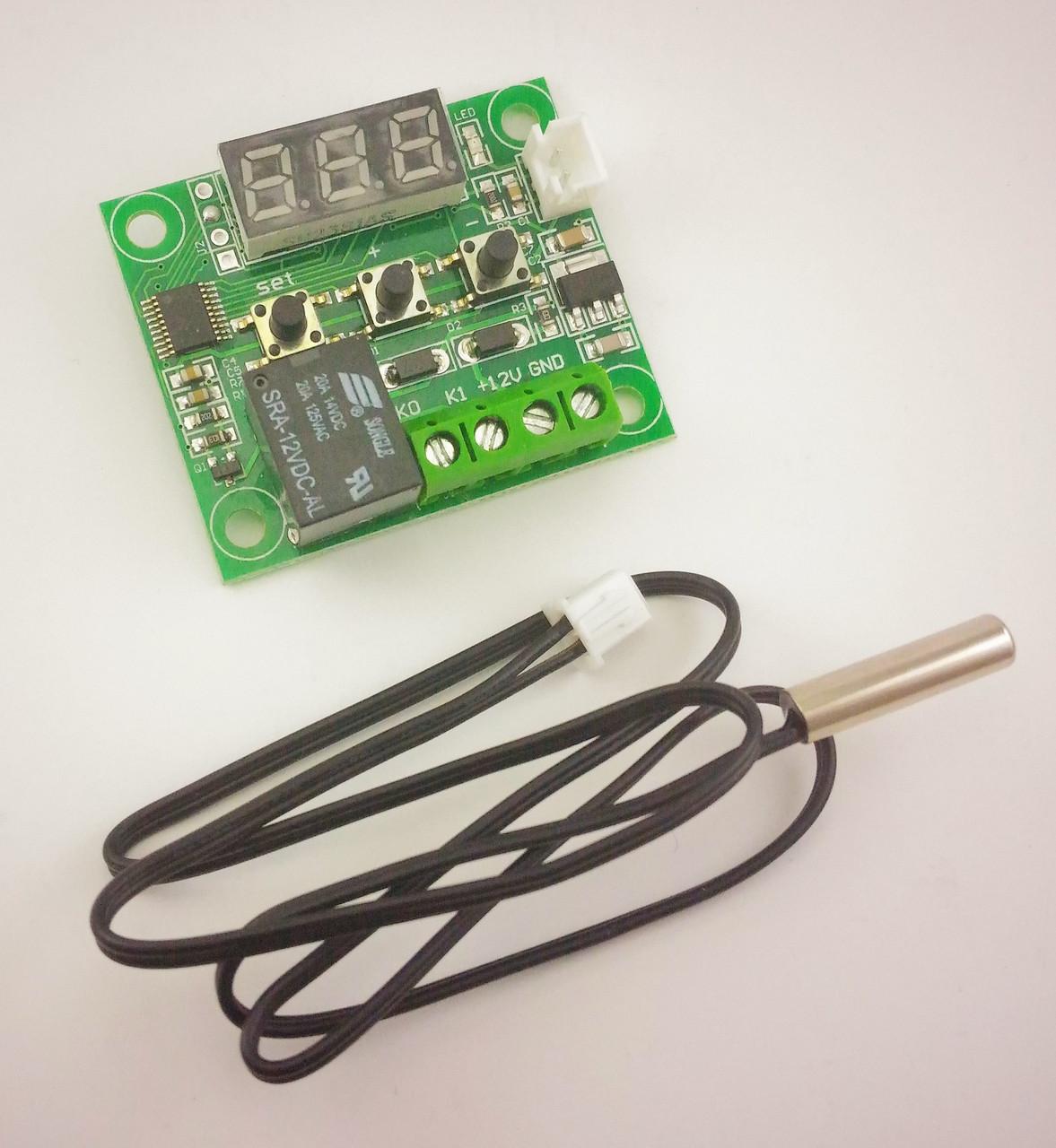 Цифровой терморегулятор W1209 (термостат, реле) -50..110 град. питание 12В, с выносным датчиком (NTC резистор)