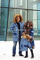 Восхитительная парка с шикарным мехом канадского енота+бобер, верх джинс, фото 1
