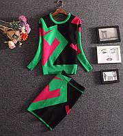 Яркий тёплый костюм из нежного трикотажа 65041