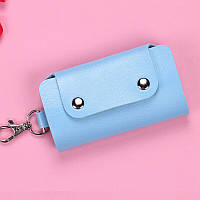 Ключница женская для хранения ключей ЭКО кожа голубая