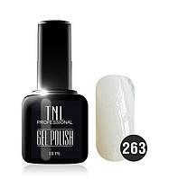 Гель-лак TNL № 263 белый с блестками 10 мл.