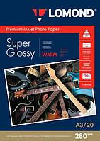 Бумага для струйных принтеров суперглянец Lomond 280 г/м, А3, 20л.