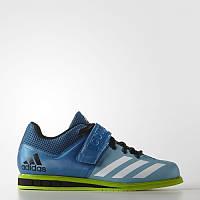 Кроссовки штангетки Adidas PowerLift 3 голубые с зеленым