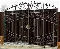 Ворота металлические с элементами художественной ковки