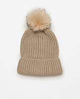 Модная женская вязанная трикотажная шапка с помпоном цвета хакиот ZARA ac691bd55a26b