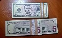 Сувенирные купюры, деньги 5 долларов