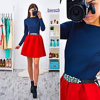 Приталенное неопреновое платье синий+красный