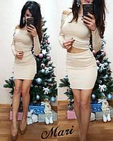 Красивый женский костюм, кофта+юбка, ткань дайвинг, цвет беж
