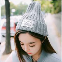 Модная женская трикотажная шапка ROCK серого цвета