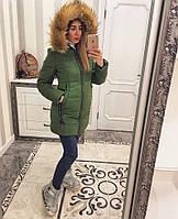 Зимняя куртка с мехом, на молнии