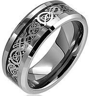 Кольцо из карбида вольфрама с вставкой серебристого цвета
