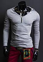 Стильная эластичная футболка с длинным рукавом и капюшоном Gray Производства Украина