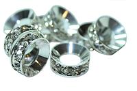Колечки со стразами  Серебро 12мм (мал)