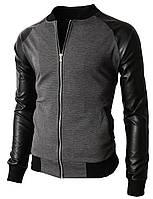 Стильная куртка рукава из кожзам Gray Не Китай качество отличное