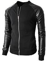Стильная куртка рукава из кожзам Black Не Китай качество отличное